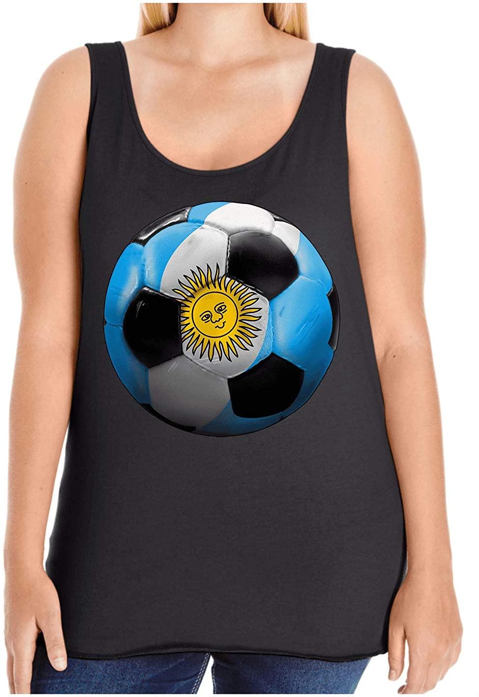 HARD EDGE DESIGN Women's Argentina Soccer Plus Size Tank Top, Size 4, Black