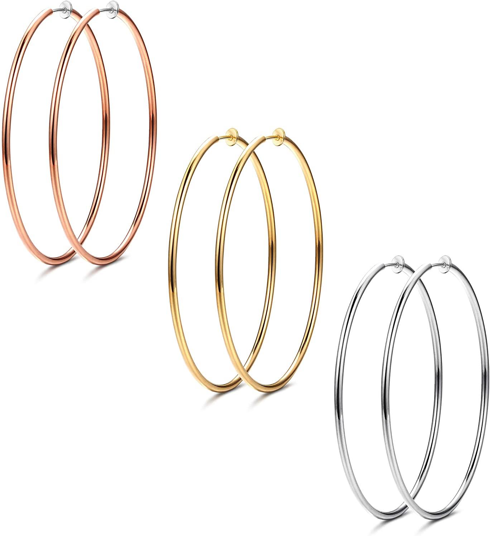 Udalyn 3 Pairs Stainless Big Hoop Earrings Set Clip On Hoop Earrings For Women Large Non Pierced Earring Jewelry 40/50/60mm