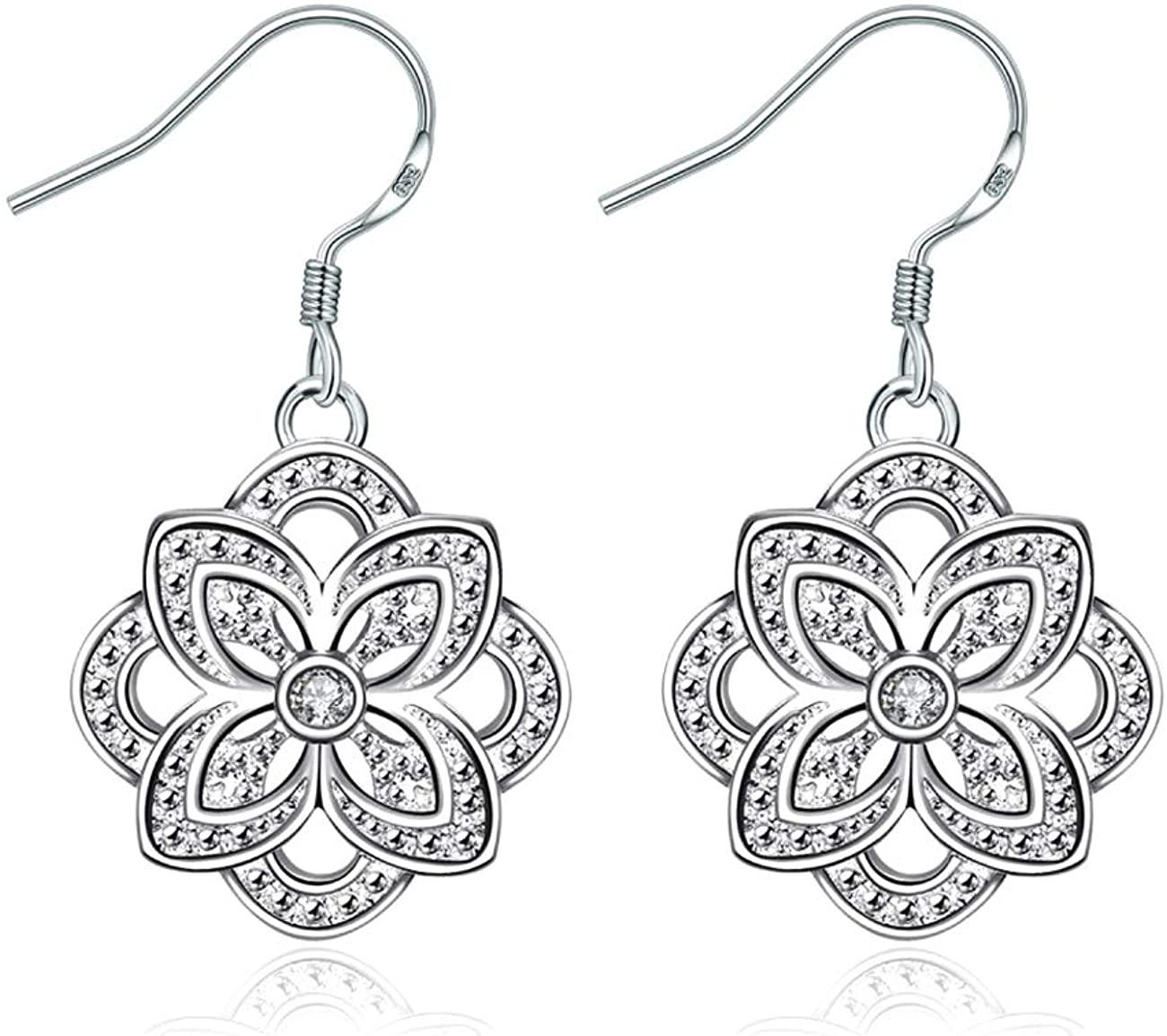 KEETEEN Filigree Sterling Silver Dangle Drop Womens Earrings For Sensitive Ears