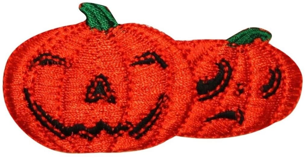 ID 0810 Pair of Jack O Lantern Patch Halloween Night Embroidered IronOn Applique