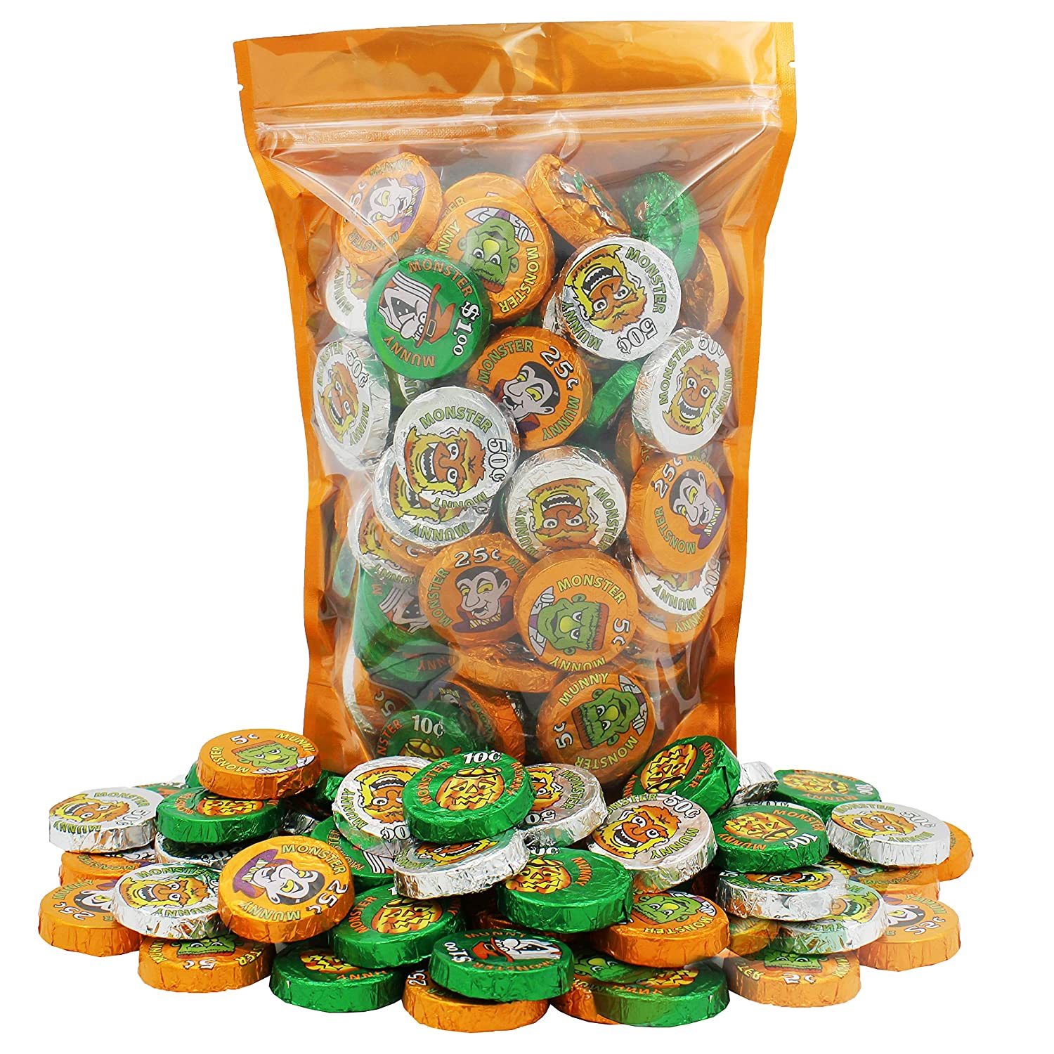 Halloween Chocolate Monster Money Coins Munny, Milk Chocolate Trick-Or-Treat Party Bag Fillers, Individually Wrapped in Orange, Green, Silver Coin Design Foils, Kosher OU-D (18 Pieces)