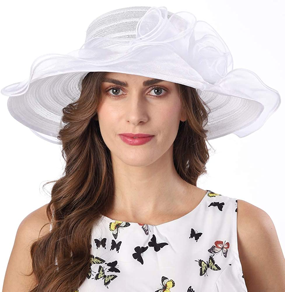 FORBUSITE Kentucky Derby Hat Women Church Hat for Wedding Tea Party