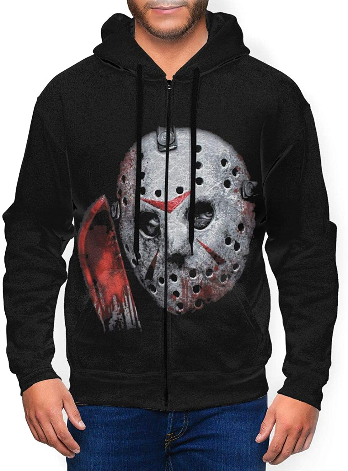Startingpoint126 Men Friday The 13th Jason Voorhees Airbrush Casual Comfortable Hooded Sweater