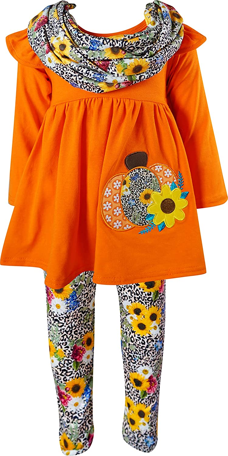Boutique Clothing Girls Fall Pumpkin Patch Halloween Top Pants Scarf Outfits 3-pc Sets