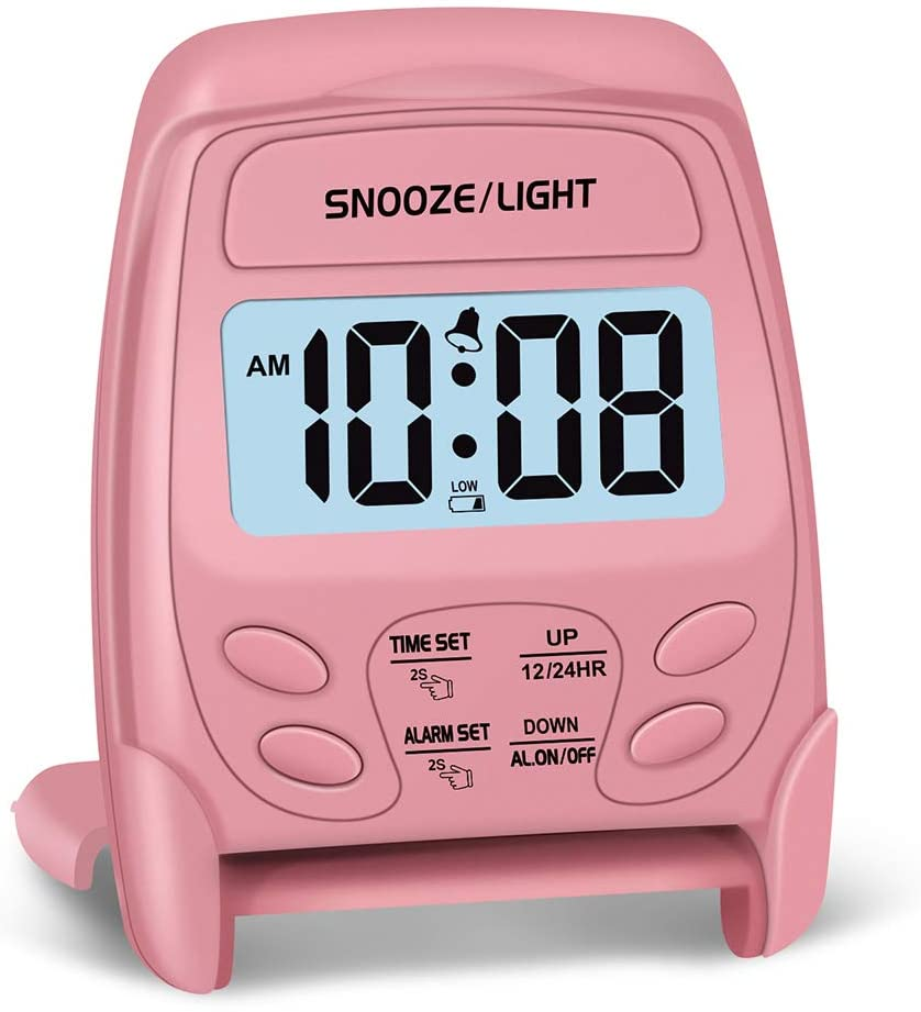 Peakeep Small Foldable Battery Operated Alarm Clock, Travel Digital Easy Operation Alarm Clock(Pink)