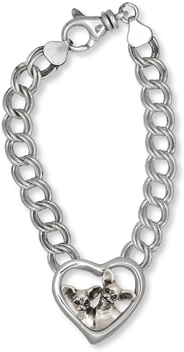 Chihuahua Bracelet Jewelry Sterling Silver Handmade Dog Bracelet CH61-BR