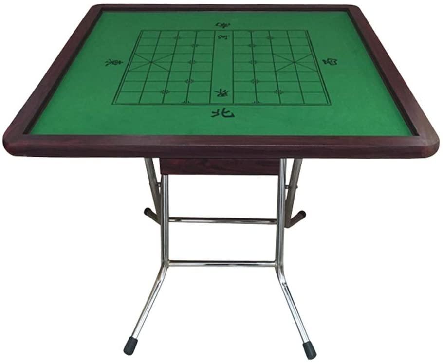 QERNTPEY Mahjong Table Folding Mahjong Lightweight Desk Card Poker Dominoes Square Table 4 Legs Game Desktop (Color : High Gloss Plating Bracket+Drawer)