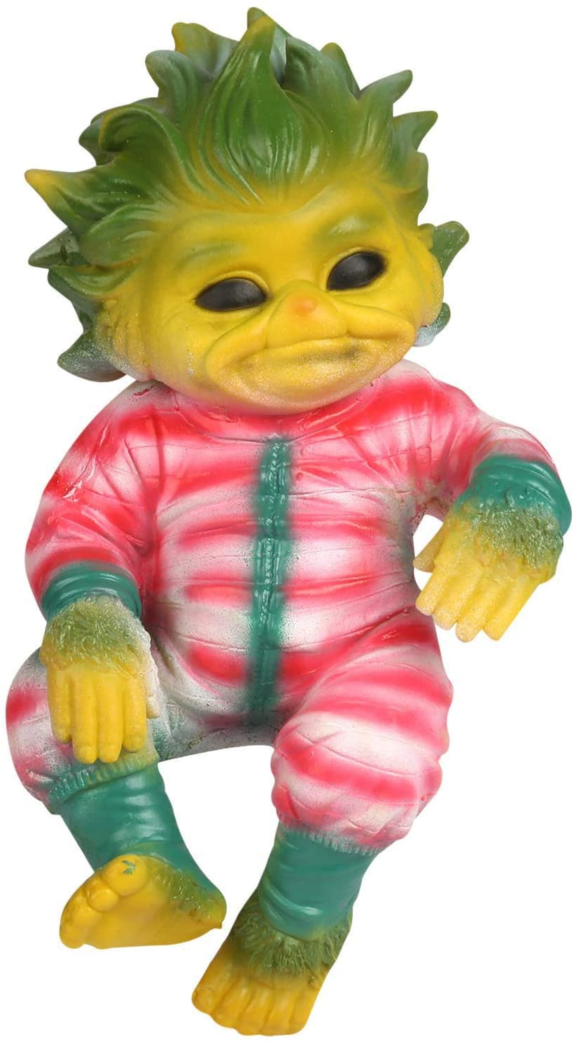 Rxan Grinch Doll Toy, Reborn Baby Grinch Toy Realistic Cartoon Doll Christmas Simualtion Doll with Glass Eyes