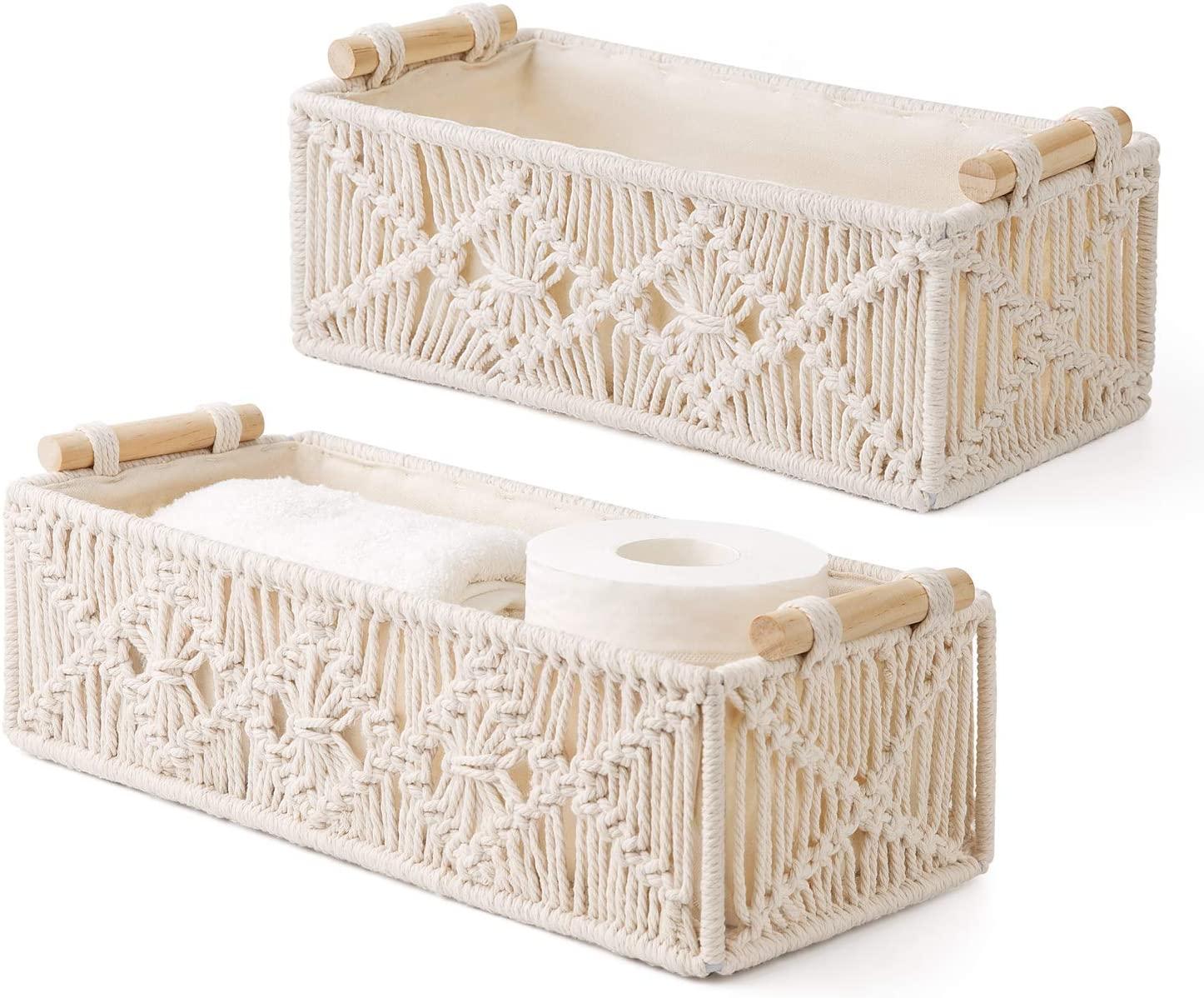 Mkono Macrame Storage Baskets Decor Box Handmade Woven Decorative Countertop Toilet Tank Shelf Cabinet Organizer Boho Decor for Bedroom Nursery Livingroom Set of 2, Ivory