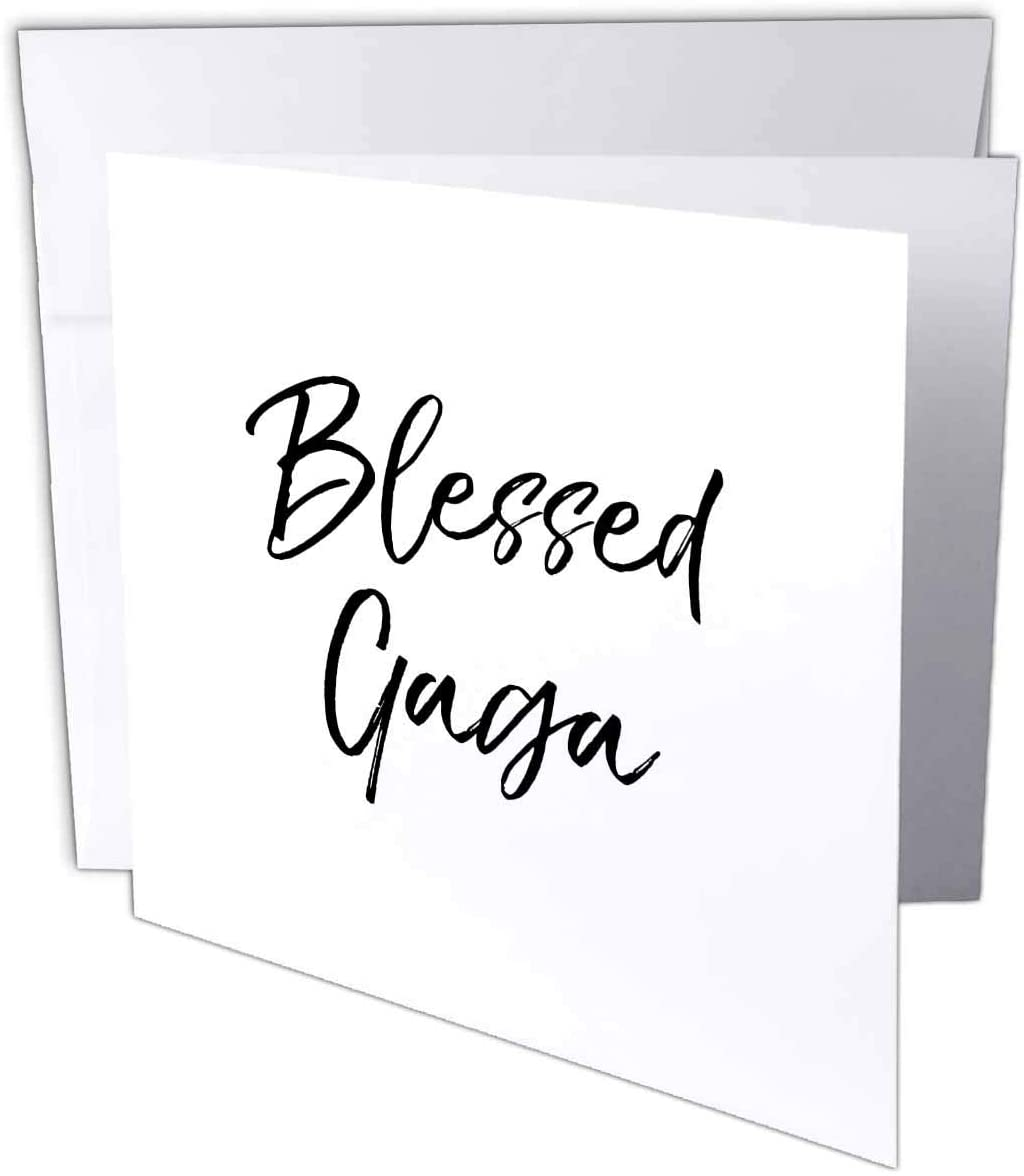 3dRose InspirationzStore - Blessed Series - Blessed Gaga Cursive Flowy Letters Thankful Grandma Typography Text - 1 Greeting Card with Envelope (gc_316850_5)