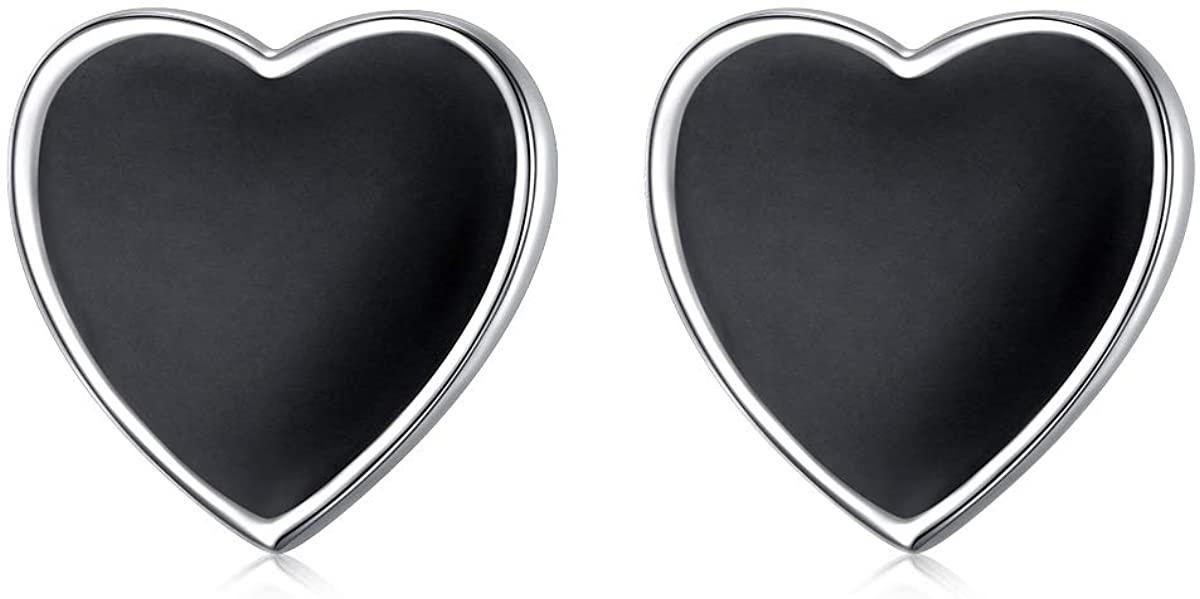 YinShan 925 Sterling Silver Jewelry Simple Black Ear Studs Earrings for Men Women Gift