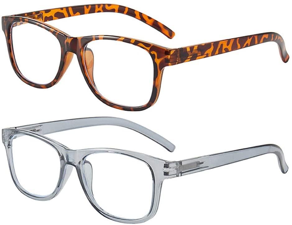2 Pack Blue Light Blocking Reading Glasses Anti UV Lightweight Eyeglasses Spring Hinge Readers for Women Men 2.50