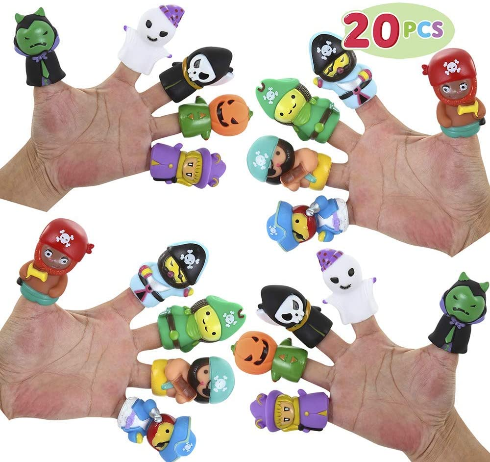JOYIN Halloween 20 PCS Character Finger Puppets Witch, Ghost, Grim Reaper, and Pumpkin Character Finger Toys for Kids, Halloween Party Favor Supplies Goodie Bag Fillers