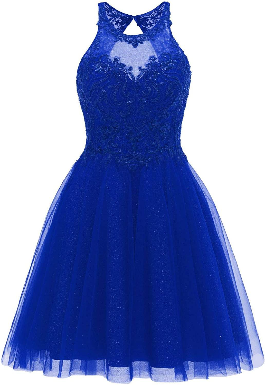 Short Homecoming Dresses Tulle A Line Beaded Halter Glitter Prom Dress for Juniors