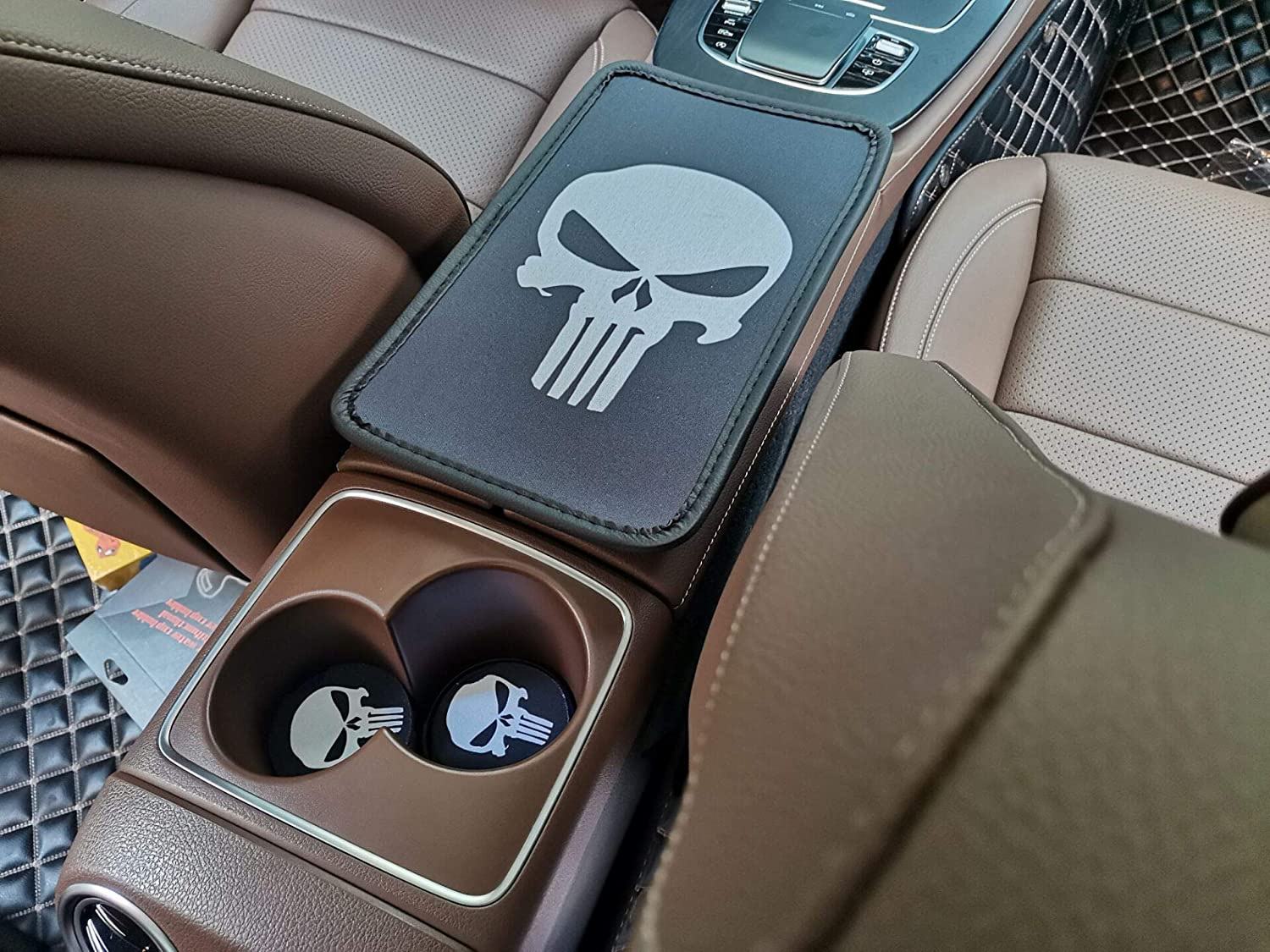 Lazynice Car Center Armrest Cushion Mat Pad with Car Interior Water Cup Coaster Combo Set -1PCS Universal Vehicle Center Console Armrest Cover + 2PCS Automobile Water Cup Cushion (Punisher)