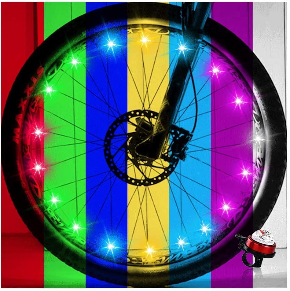 OuYezy 2-Tire Pack LED Bike Wheel Lights Waterproof Multi Color Bike Spoke Light Safe Tire Accessories for Night Riding Bike Decorations and Kids Bike Lights for Wheels