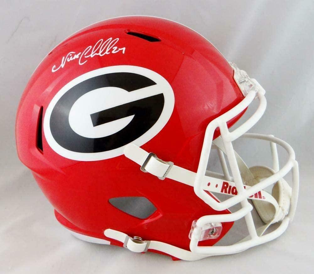 Nick Chubb Autographed Georgia Bulldogs Full Size Speed Helmet - JSA-W Auth *Wh - Autographed College Helmets