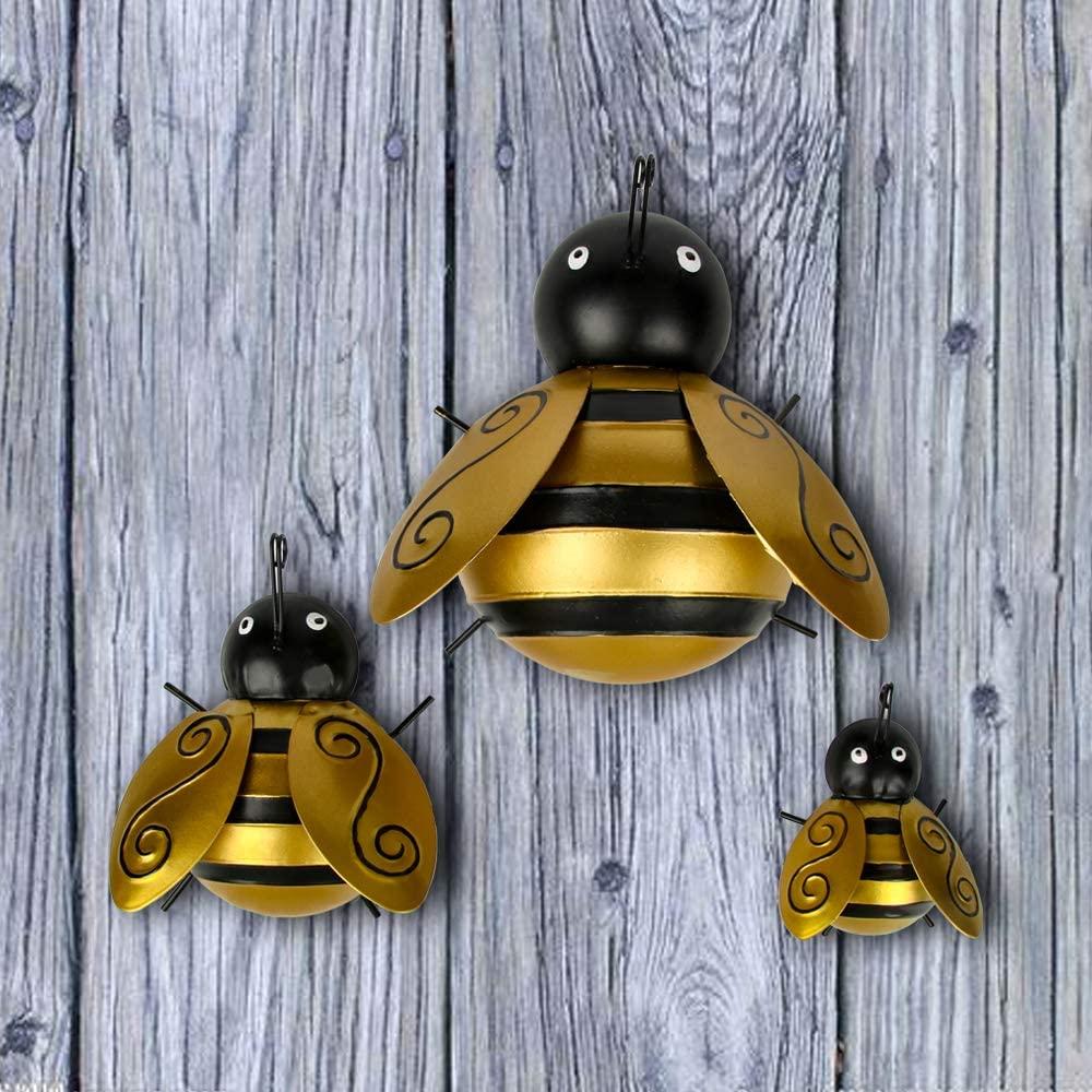 Trivol Golden Metal Bee Set of 3 Wall Decor Sculpture Art Hanging for Home Garden Lawn Yard Decorative Ornaments