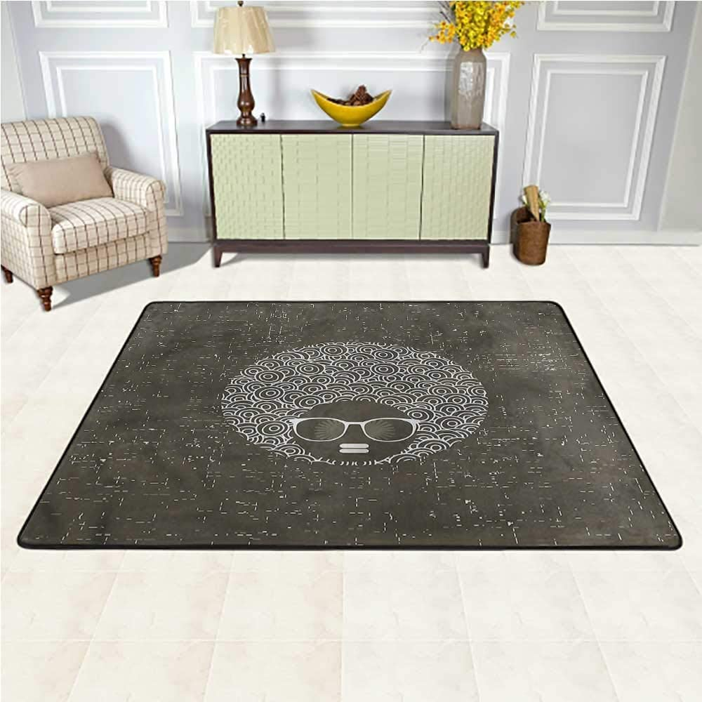 Rugs Black Woman, Afro Hair Curvy Circles Children's Playing Mat for Boys Kids Room Living Room Home Decor 6.5 x 10 Feet