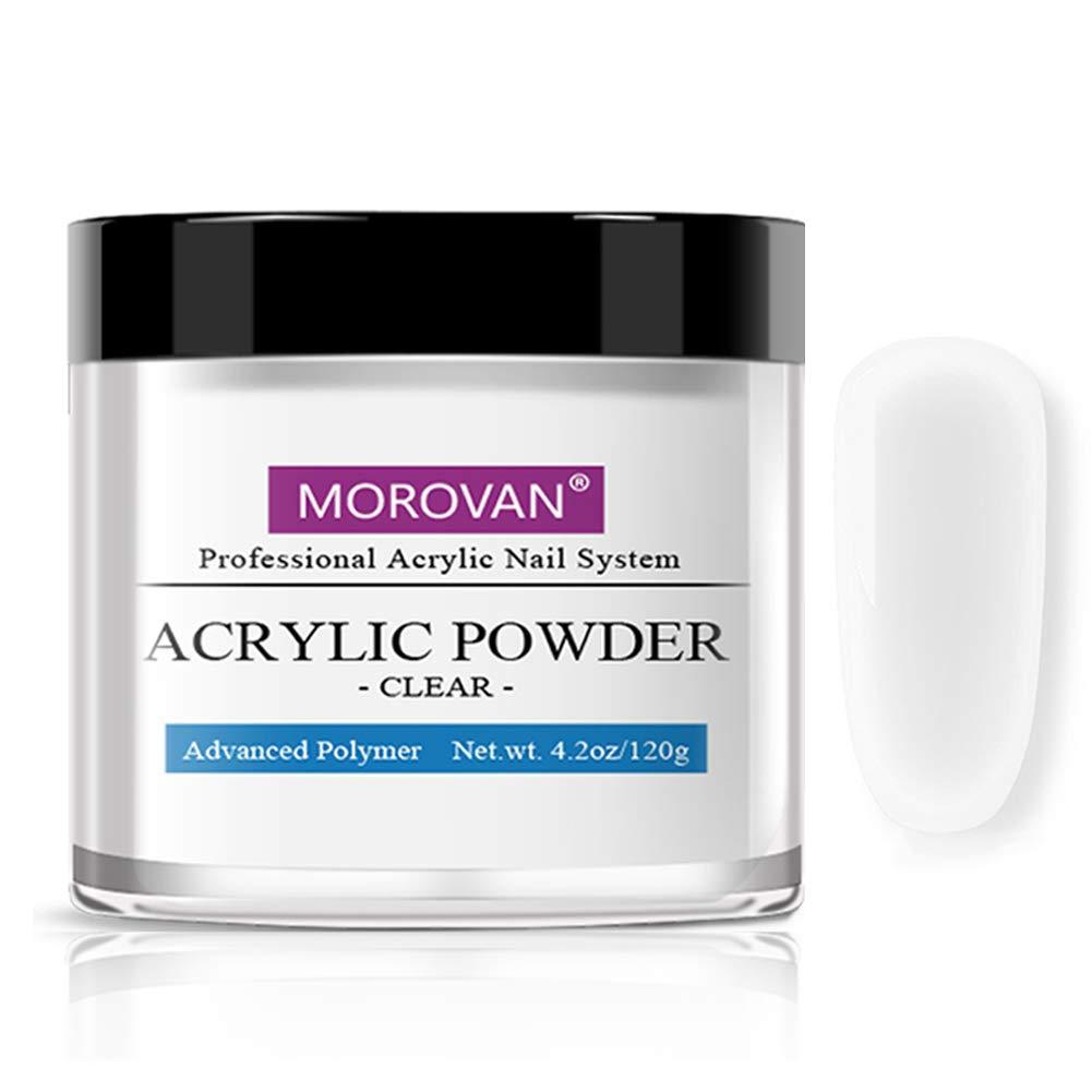 Morovan Acrylic Powder for Acrylic Nails Art Nail Extension Carving Adhere Clear 4 OZ
