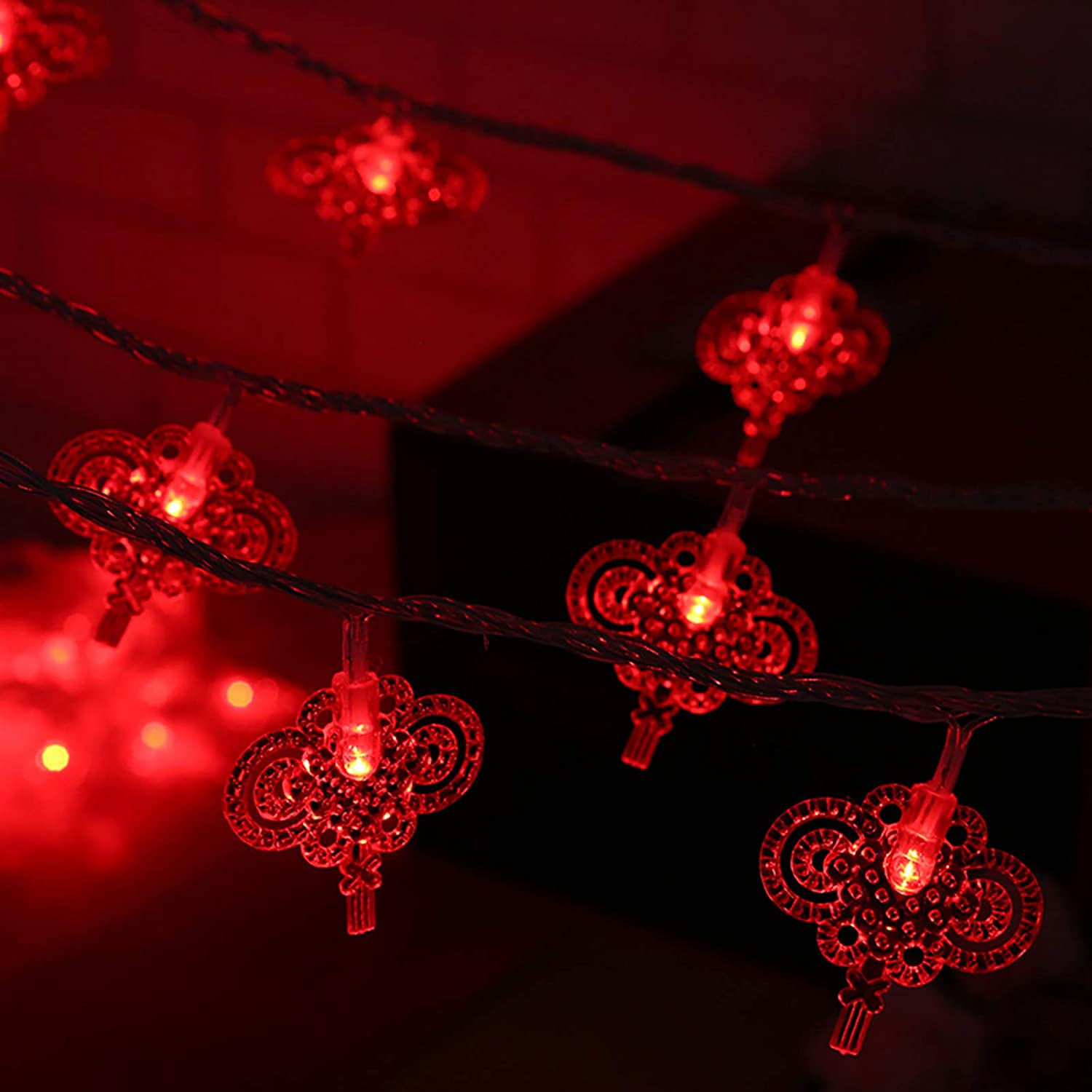 Red New Year String Lights,Christmas Led Curtain String Light,Home Decorative Fairy Lights for Bedroom Party Wedding Garden Halloween Wall Decorations