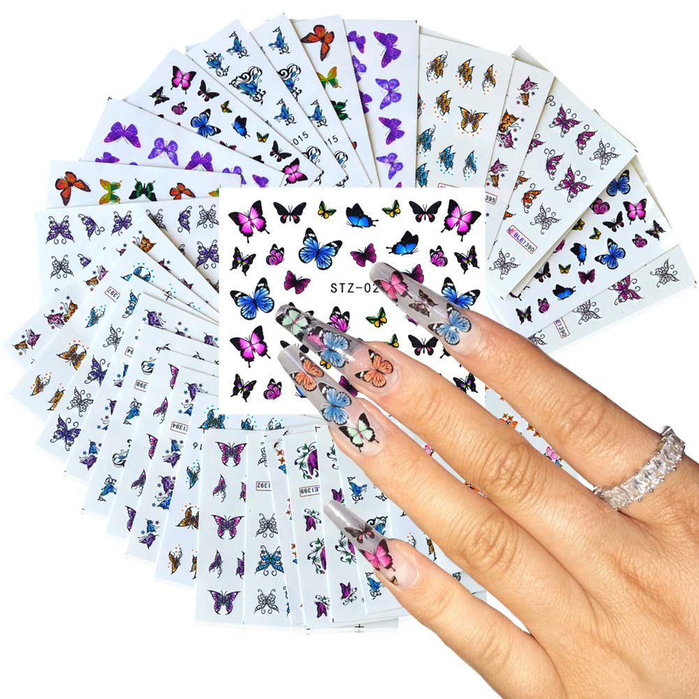 Comdoit 30 Sheets Butterfly Nail Art Stickers Colorful Butterflies for Nails Art Design Water Transfer Decals Butterfly Nail Art Foil Sticker Set Manicure Tips Butterfly Nail Decorations Kit