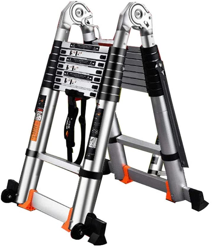 QNN Ladder Atelescoping Telescopic Extension Multifunctional Engineering Max 330Lbs Load Capacity,Silver + Black,4.1M + 4.1M