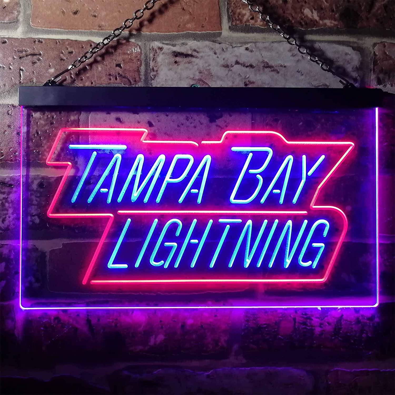 ZAKAKU Tampa Bay Sport Team Lightning Script Colorful LED Neon Sign Man Cave Light Red & Blue w16 x h12