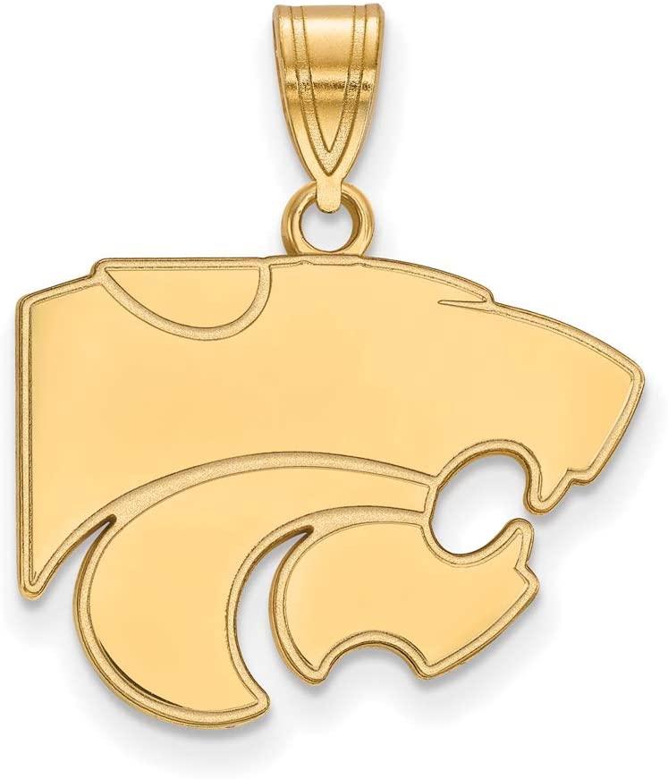Black Bow Jewelry NCAA 14k Yellow Gold Kansas State Medium Necklace
