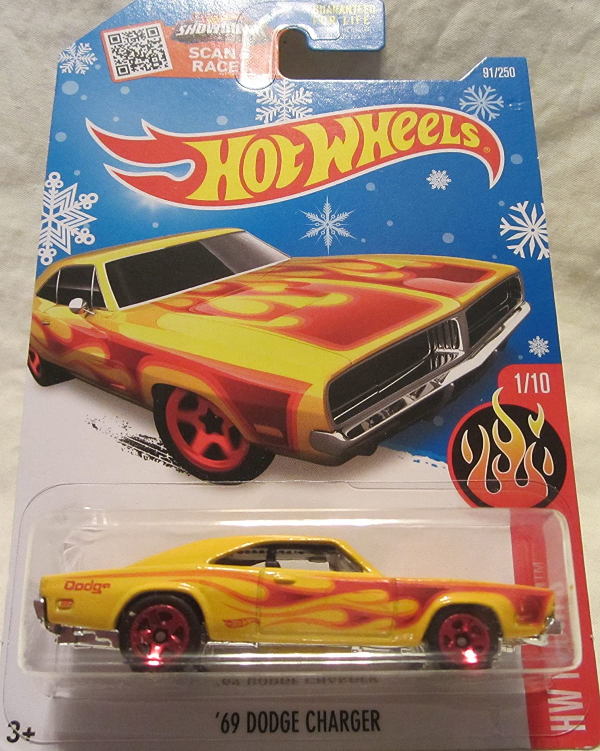 2016 Hot Wheels HW Flames '69 Dodge Charger 91/250 Snowflake Exclusive