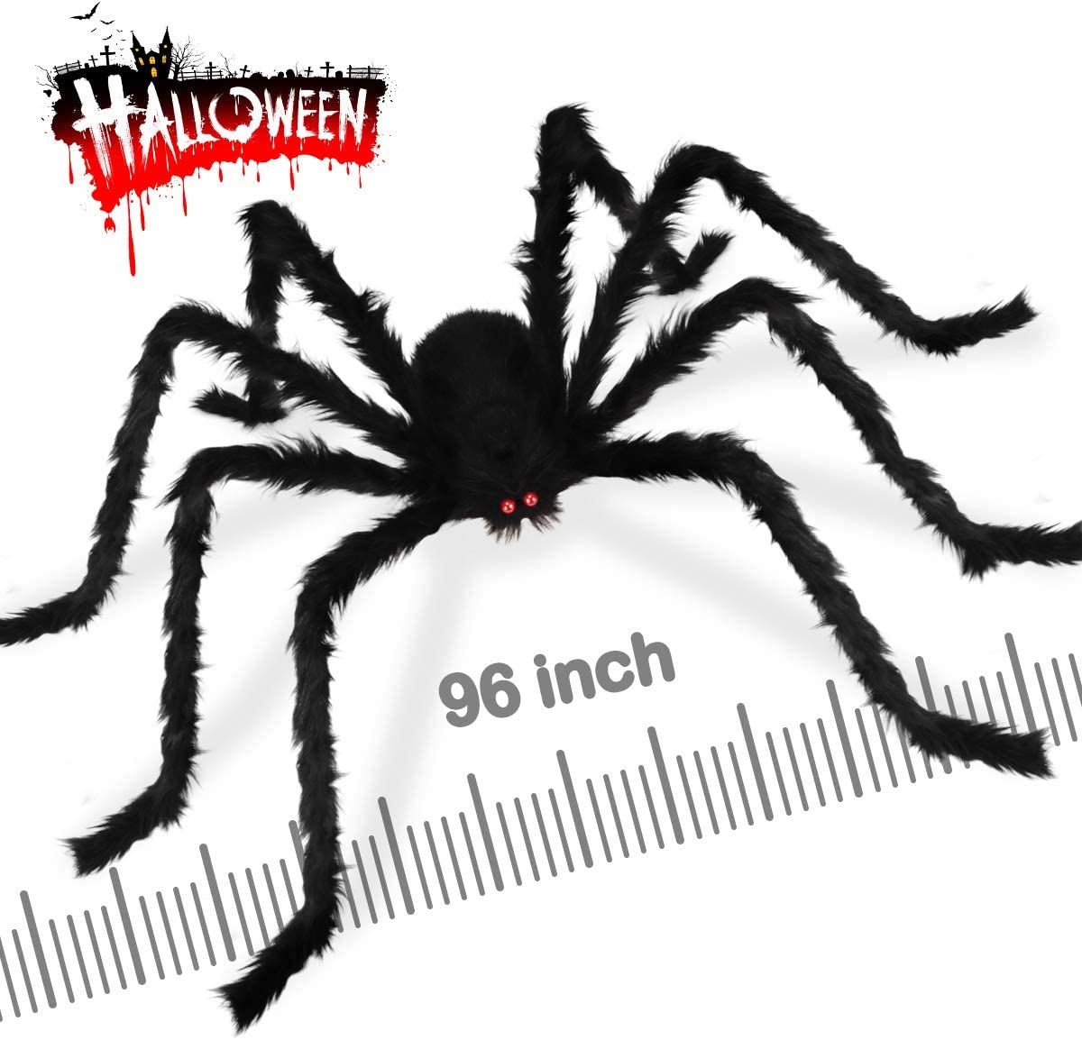 Dreampark 8.0 Ft Halloween Giant Spider, Fake Large Hairy Spider Decorations, Scary Virtual Realistic Spider Props for Indoor Outdoor Creepy Decor Black
