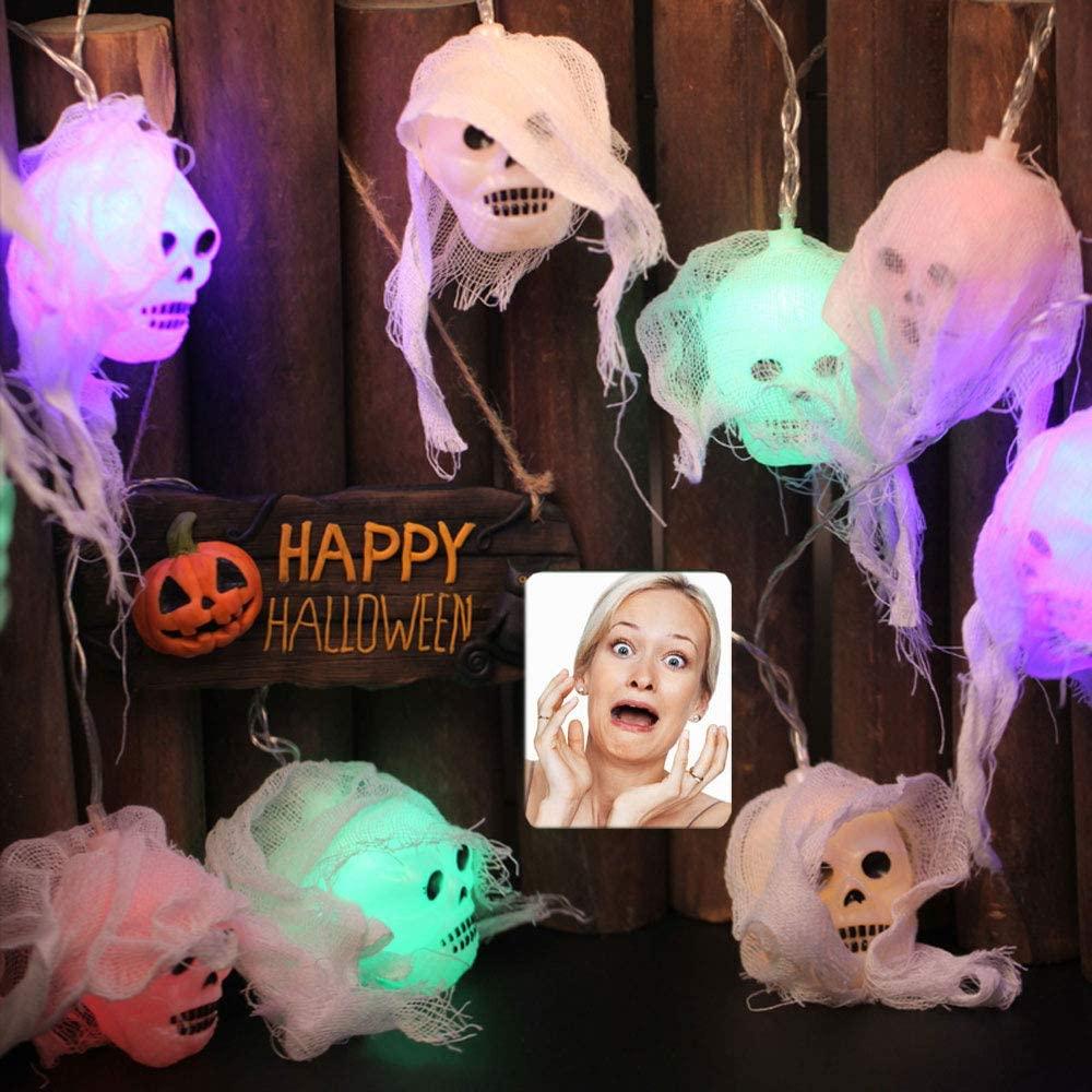 Halloween LED Skeleton Lights String White Gauze Skull Head Lights String Ghost Festival Elf Grimace Horror Lantern Decorations (10 LED、8.2 ft)