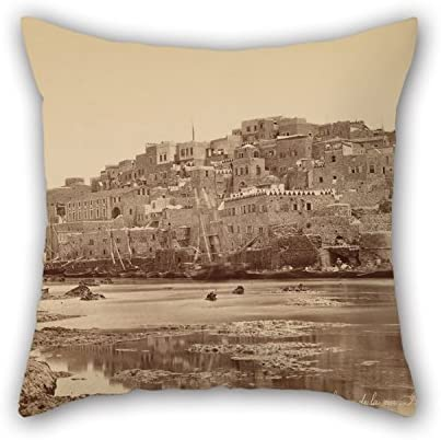 18 X 18 Inches / 45 by 45 cm Oil Painting F??lix Bonfils (French) - Jaffa, Vue G??n??Rale Prise De La Mer - Palestine Cushion Cases 2 Sides is Fit for Sofa Car Son Valentine Deck Chair Drawing Roo