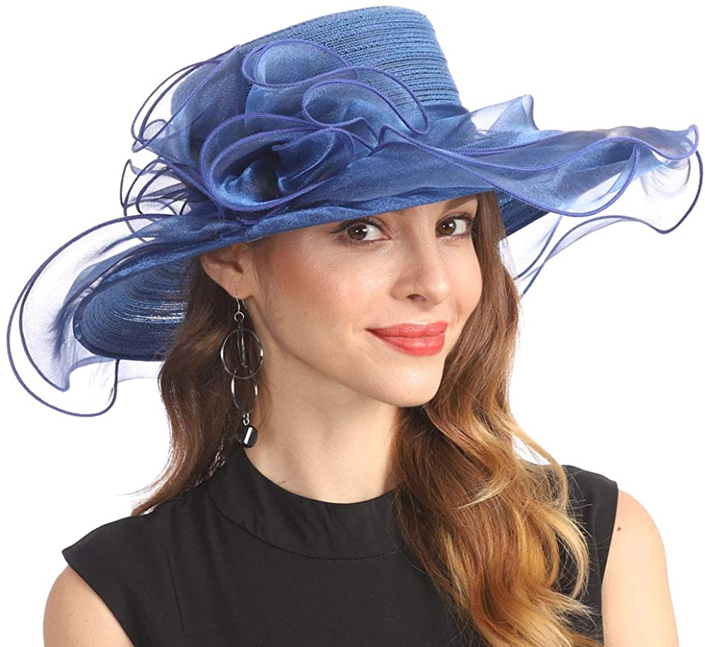 Women Organza Kentucky Derby Church Dress Cloche Hat Fascinator Floral Tea Party Wedding Bucket Hat S053