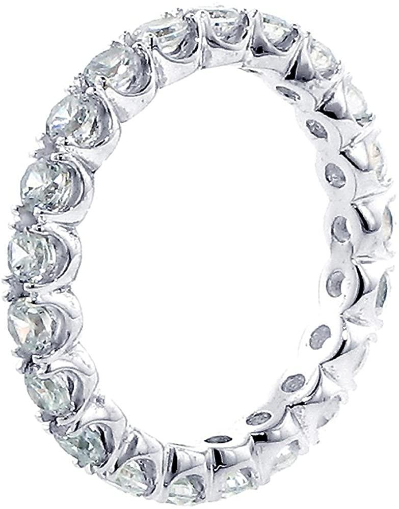 VIP Jewelry Art 18k White Gold Split Prong Set Diamond Eternity Anniversary Wedding Band (1.70-2.30 CT TDW)
