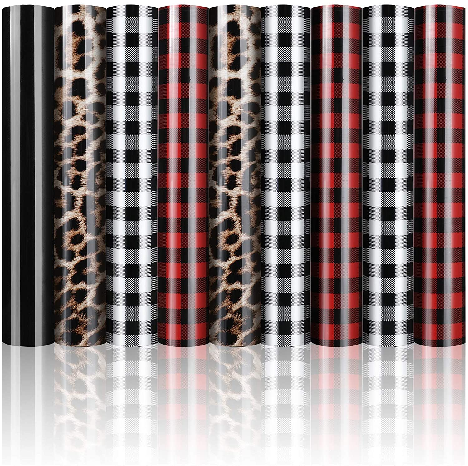 9 Sheets Christmas Buffalo Plaid Iron-on Vinyl Heat Transfer Vinyl Assorted Check Leopard Print HTV Fabric for T-Shirt Clothes Bag Hat Pillow Crafts, 12 x 10 Inch (Red, Black-White, Black, Leopard)