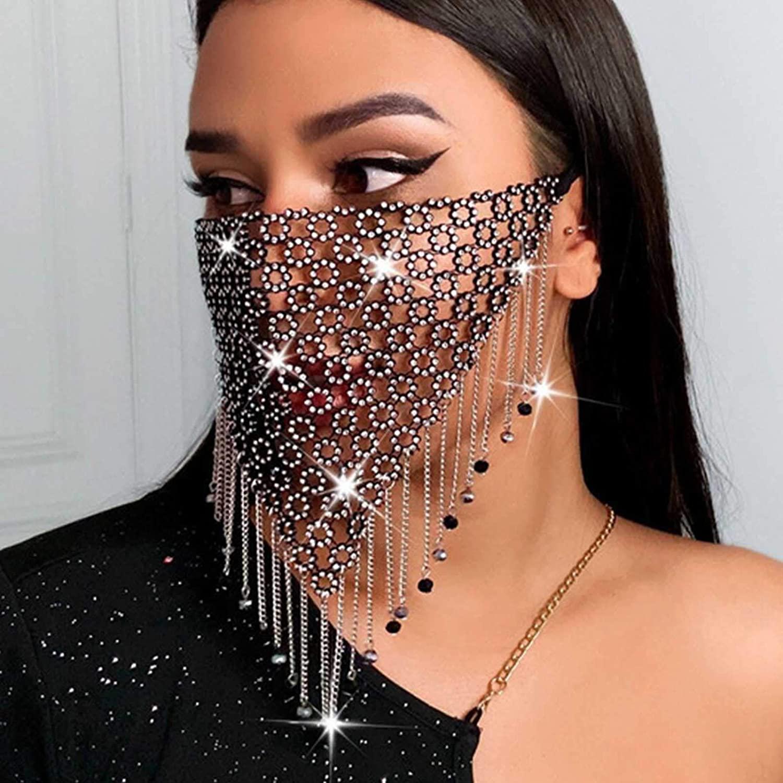 Genbree Sparkly Rhinestones Mask Black Tassel Crystal Mesh Masks Masquerade Mask Ball Party Nightclub Rave Festival Venetian Mardi Gras Jewelry for Women