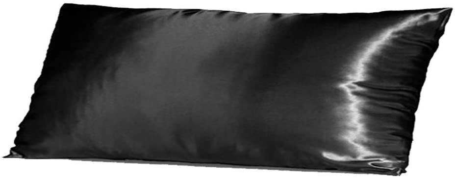 TAOSON Silky Soft Satin Body Pillow Cover Pillowcase Pillow Protector Cushion Cover with Envelope Closure Only Cover No Insert (21x54 inches Fits 20 x 54 Pillows, 21 x 54 Pillows), Black