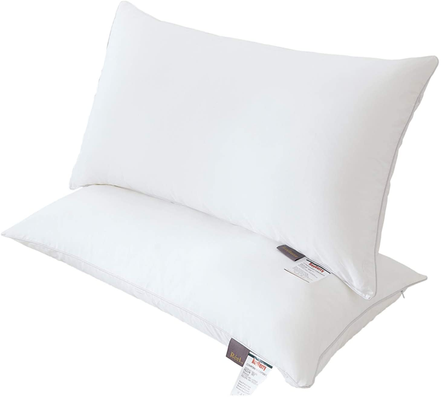 Royberry Pure Cotton Bed Pillows Double Cloth Luxury Plush Pillow Dust Resistant & Ultra Soft Hotel Pillows for Sleeping