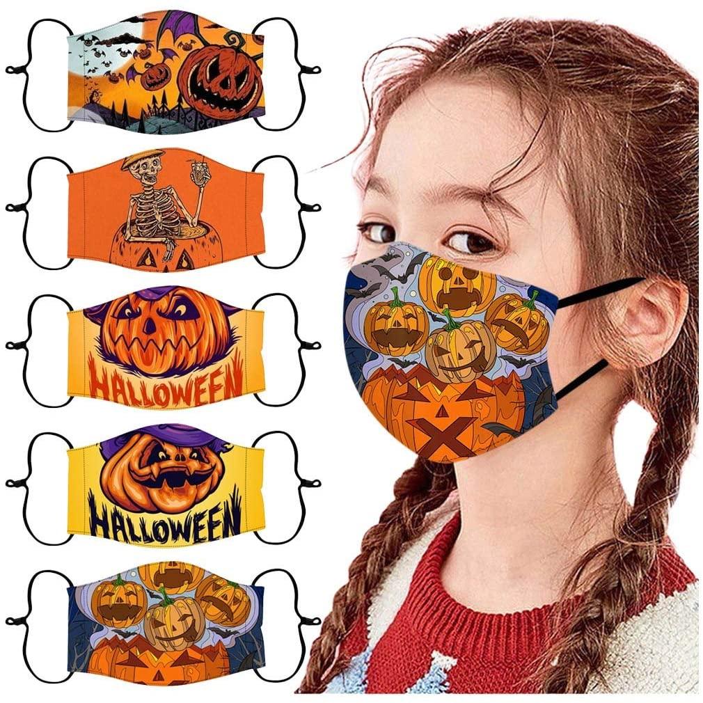ShaggyDogz 5PCS Kids/Adults Halloween Reuseable Washable Breathable Face Bandanas Cloth Protective Outdoors Indoor Party