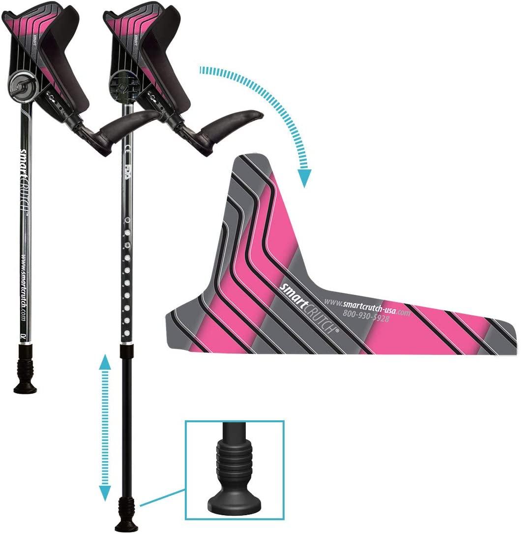 smartCRUTCH Racer Series Forearm Crutch 15-90 Degree Rotation - 2 Ergonomic Walking Aids, Adjustable 4'4-6'7 Adult Athlete Elderly Injury/Disability, Mobility Support - Medium (Shortened Leg), Pink