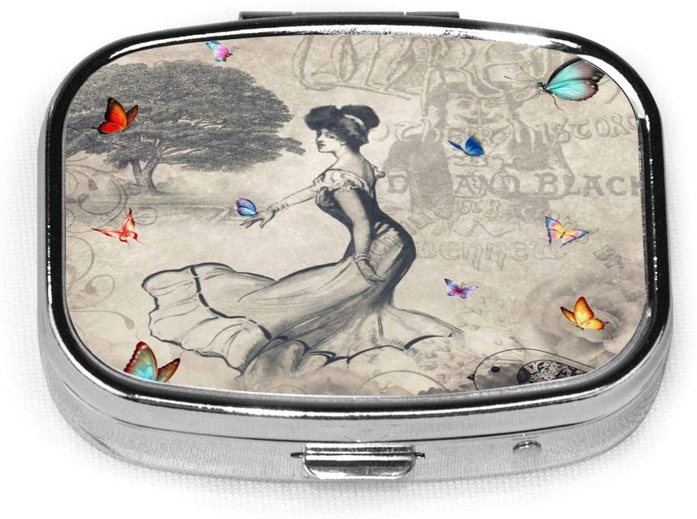Daily Pill Organizer Vintage Lady Butterfly Square Medicine Box Case Compact 2 Compartment Vitamins Tablet Holder Container Metal Portable for Daily Needs Travel Purse Pocket