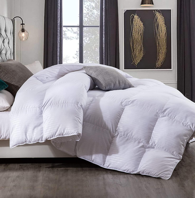 Saisier All Season Queen Comforter Down Alternative Comforter Plush Microfiber Fill,Duvet Insert with Corner Tabs,Lightweight&Medium Warmth(White Stripe,90x90inches)