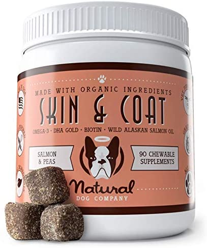 Natural Dog Company - Skin & Coat Omega Supplement - Supports Healthy Shiny Coats, Relieves Dry, Itchy Skin - Salmon & Pea Flavor - 90 Chews
