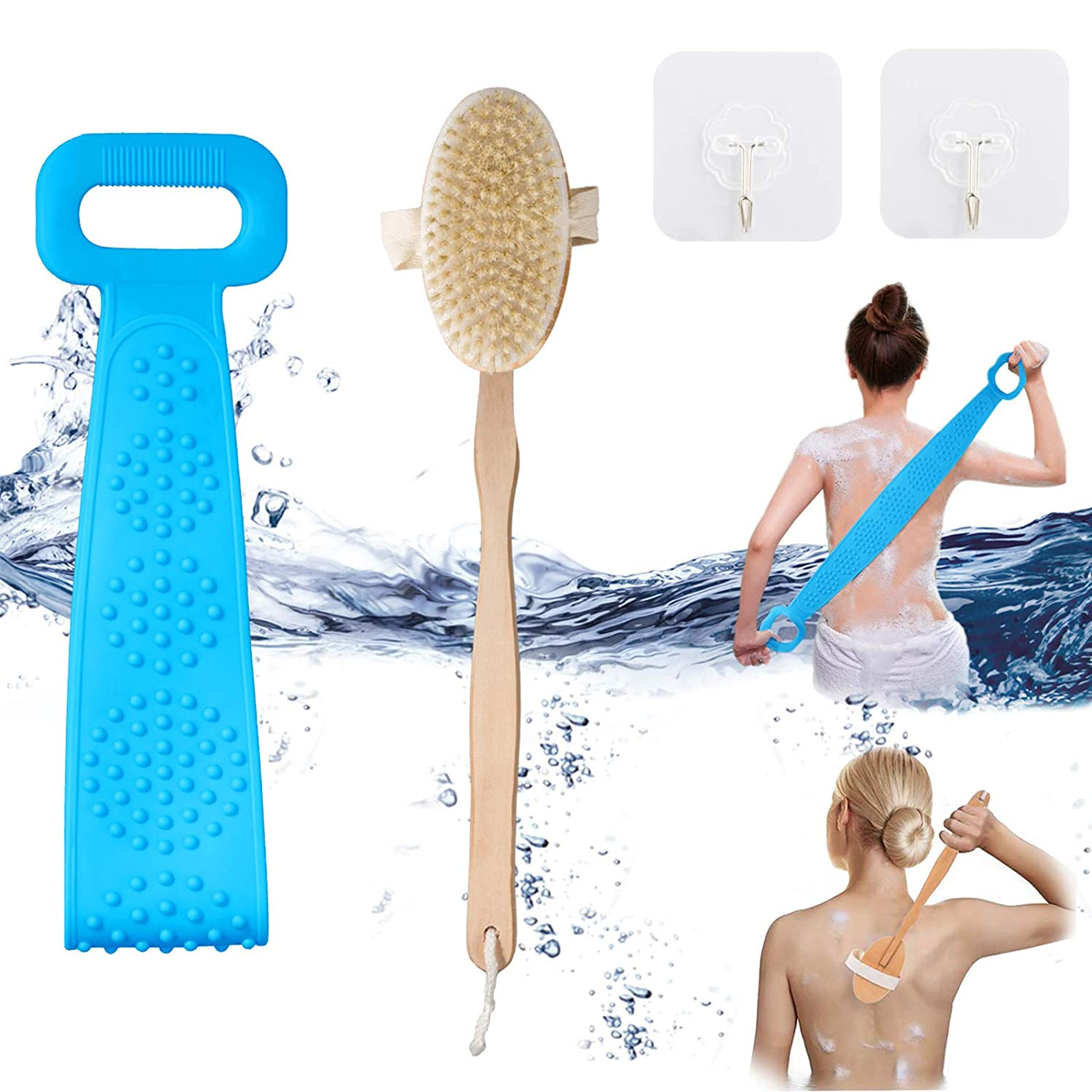 Bath Body Brush&Silicone Back Scrubber for Dry or Wet Brushing, Exfoliating with 100% Nature Horsehair, Detachable Long Handle with Non-Slip Hemp Rope Shower Brush for Man Woman Clean the Body (Blue)