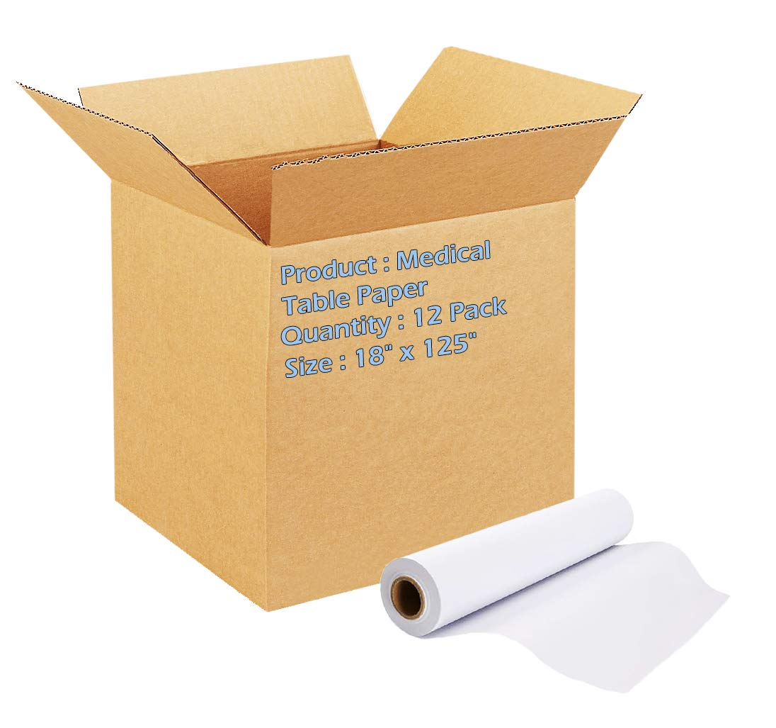 White Medical Table Paper. 12 rolls of Exam Table paper 18 inch x 125 Feet. Crepe paper for exam tables. Strength, Protection and Cleanliness. Great for Healthcare Needs.