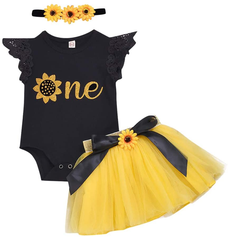 Outfits Clothes for Boy and Girl, Infant Newborn Baby Girls Print Romper Tulle Dress with Headband Outfits Sets, Boys Outfits&Set