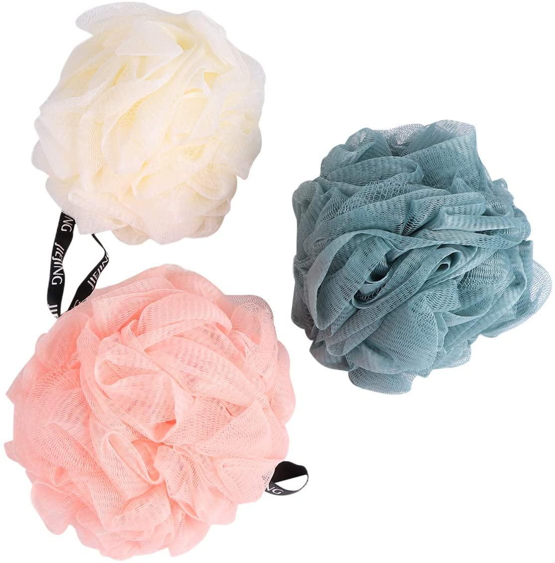 ARTIBETTER 3pcs Bath Shower Sponge Loofahs Mesh Pouf Shower Ball Scrub Balls for Men Women Girls Teens Children with Hanging Rope Pink, Beige and Blue