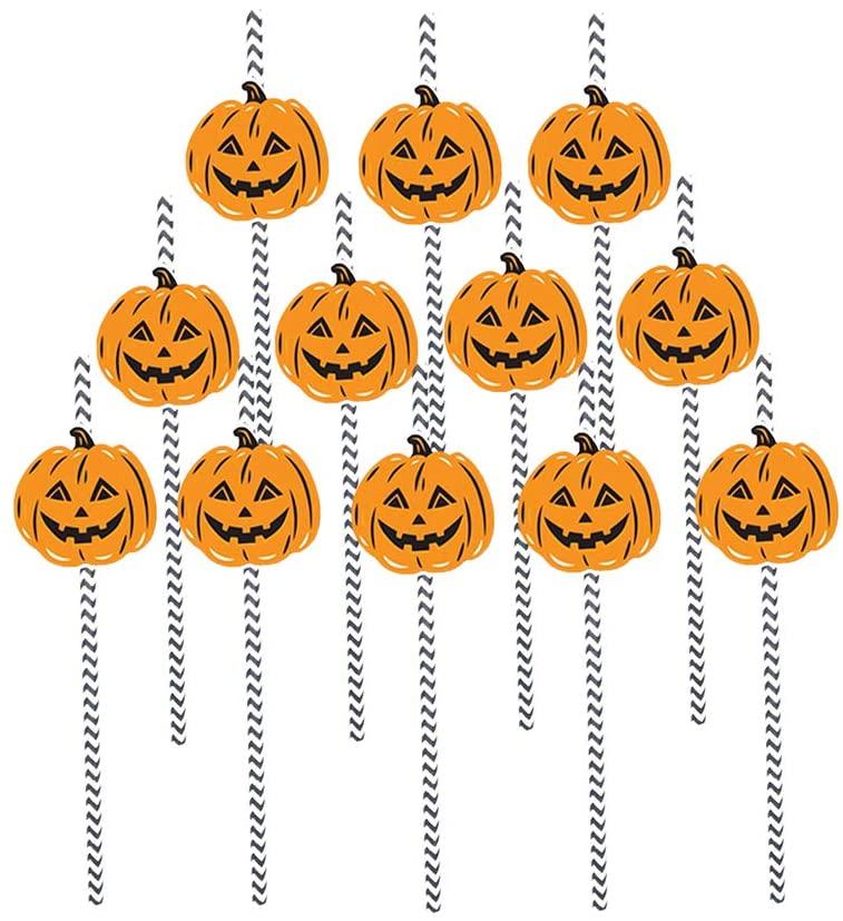 KESYOO 12pcs Halloween Pumpkin Party Straws Straws Party Supplies for Drinking