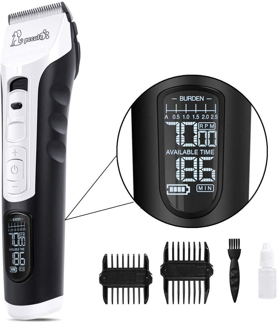 Pecute Dog Clippers Rechargeable Pet Clippers - 5 Speeds LCD Display, 50 DB Ultra-Quiet Hair Clippers Set with 4h Work Time, Dog Trimmer Cordless Pet Grooming Tool Dog Hair Trimmer for Dogs Cats Pets